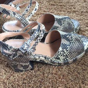 UO snakeskin sandals--brand new in box